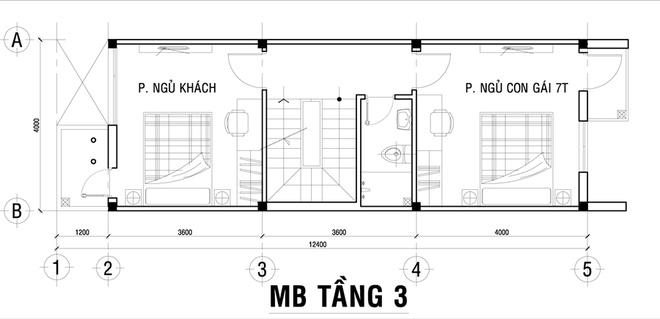 Thiết kế nhà phố 62m2 cao 3 tầng đẹp hiện đại và tinh tế - 03