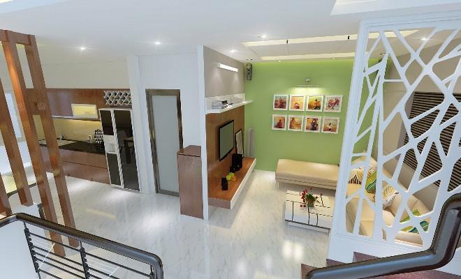 Thiết kế nhà ống 4 tầng kết hợp với văn phòng công ty tại gia