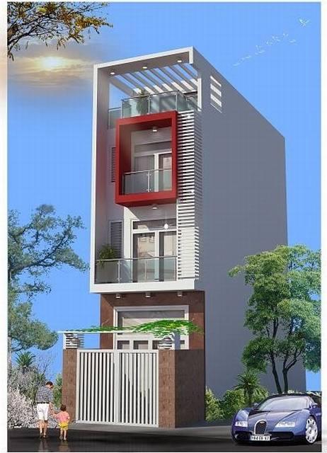 Thiết kế nhà phố 3 tầng mang sắc tím độc đáo - 01