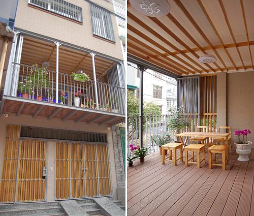 Thiết kế nhà phố có ban công rộng độc đáo diện tích 70m2