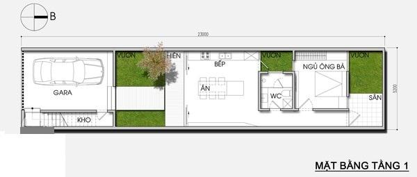 Thiết kế nhà phố 5,2m x 23m tiết kiệm chi phí với khoảng vườn xanh mát - 01