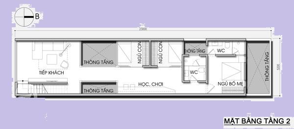 Thiết kế nhà phố 5,2m x 23m tiết kiệm chi phí với khoảng vườn xanh mát - 02