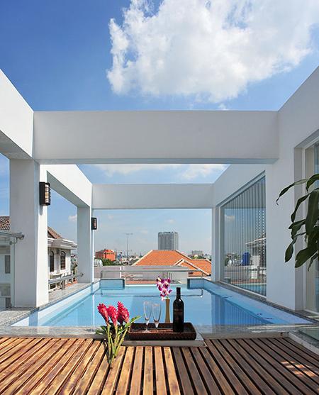 Thiết kế nhà phố diện tích 76m2 có hồ bơi trên sân thượng - 06