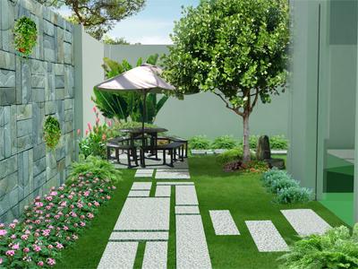 Thiết kế mẫu nhà trệt có sân vườn bao quanh tươi mát - 02