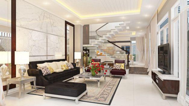 Thiết kế phòng khách có cầu thang đẹp mê ly