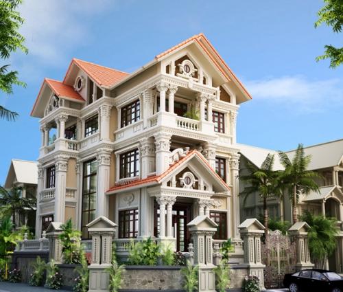 Trầm trồ biệt thự cổ điển 3 tầng phong cách Pháp