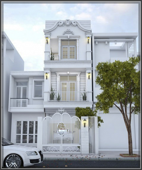 """""""Xiêu lòng"""" với thiết kế nhà phố cổ điển 3 tầng cực đẹp"""