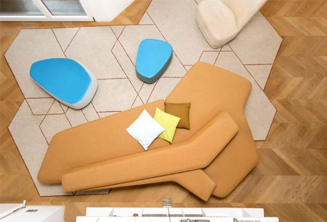 Căn hộ lấy ý tưởng từ khối hình đa giác và đường nét cong lượn độc đáo