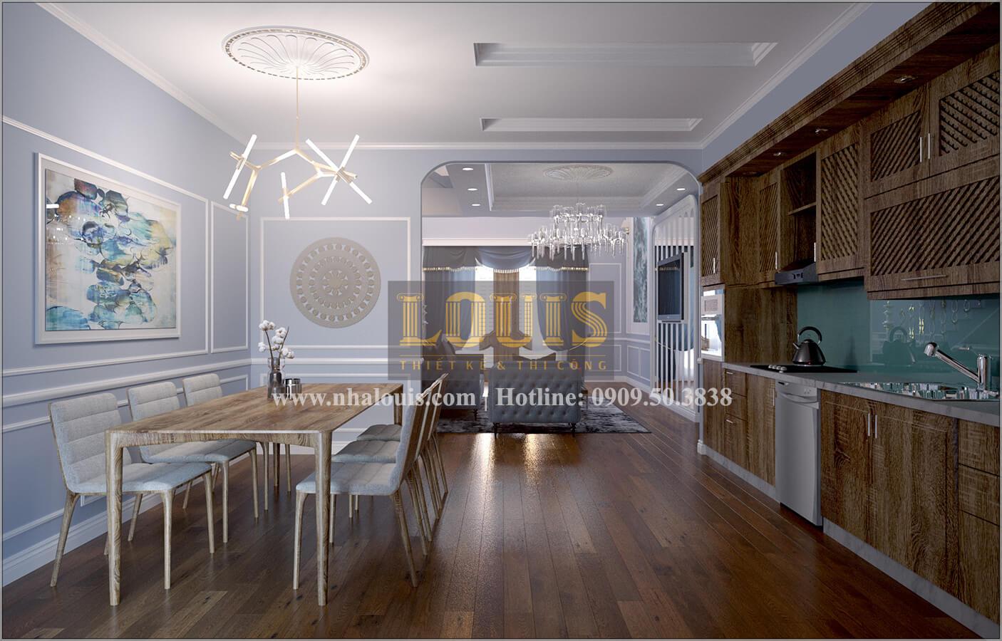 Phòng bếp và phòng ăn thiết kế nhà liền kề đẹpcổđiển liền kề tại Bình Dương