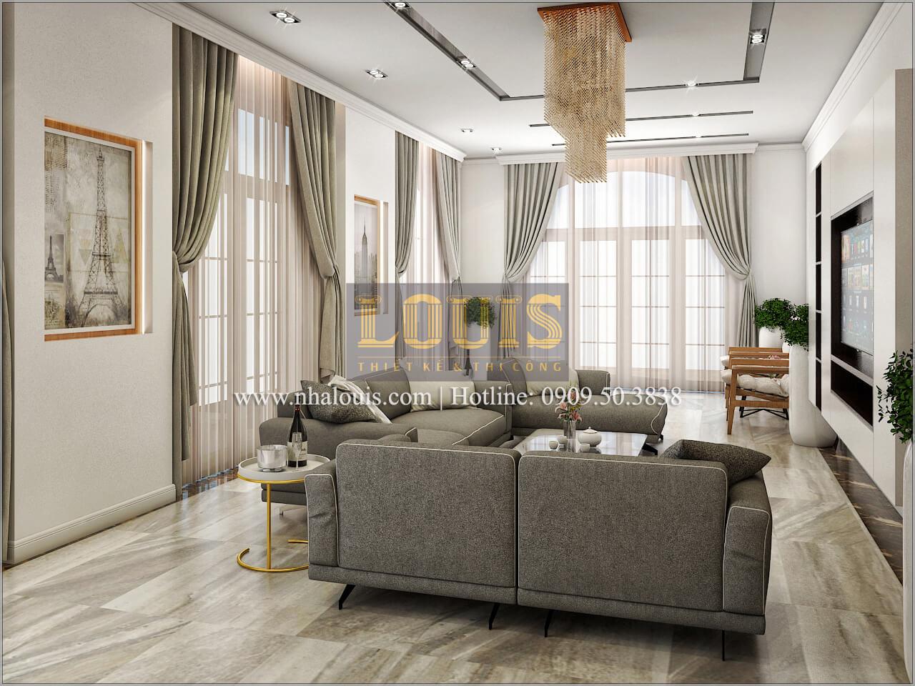 Phòng khách Thiết kế biệt thự phong cách cổ điểnđẹp kết hợp kinh doanh tạiĐồng Nai