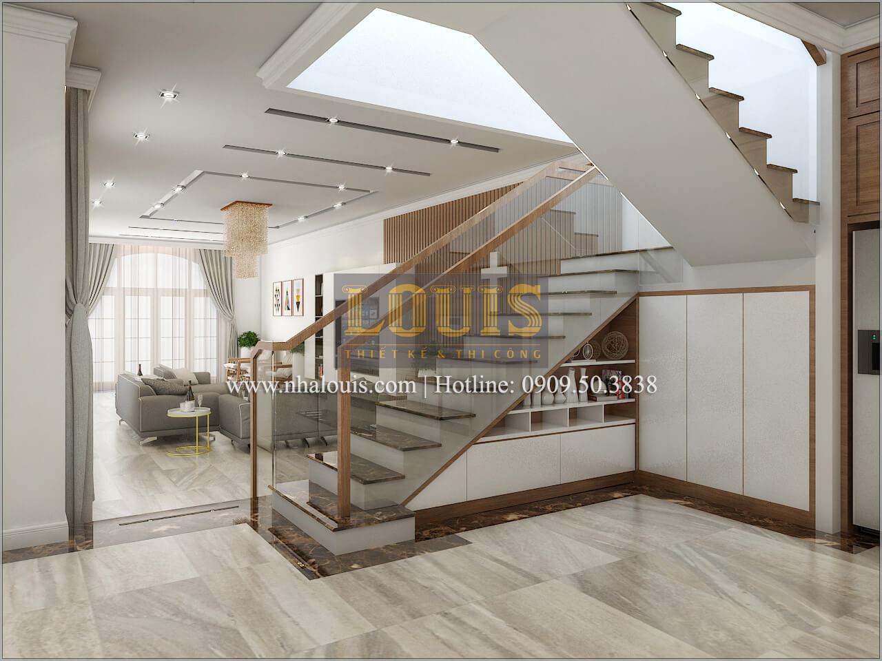 cầu thang Thiết kế biệt thự phong cách cổ điểnđẹp kết hợp kinh doanh tạiĐồng Nai