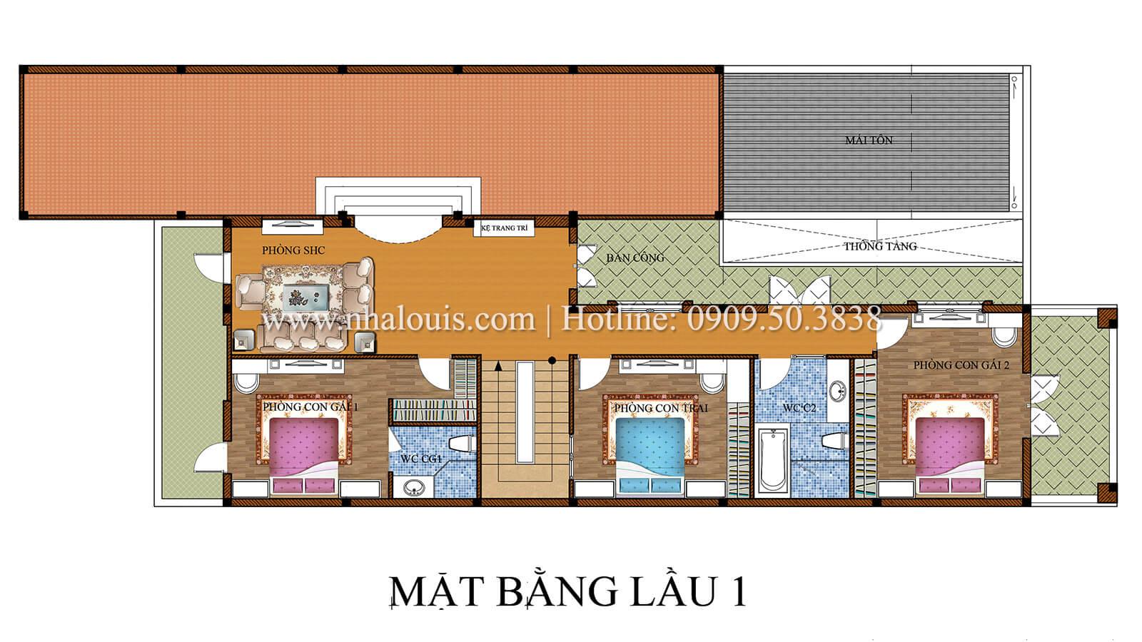 Mặt bằng lầu 1 Thiết kế biệt thự phong cách cổ điểnđẹp kết hợp kinh doanh tạiĐồng Nai