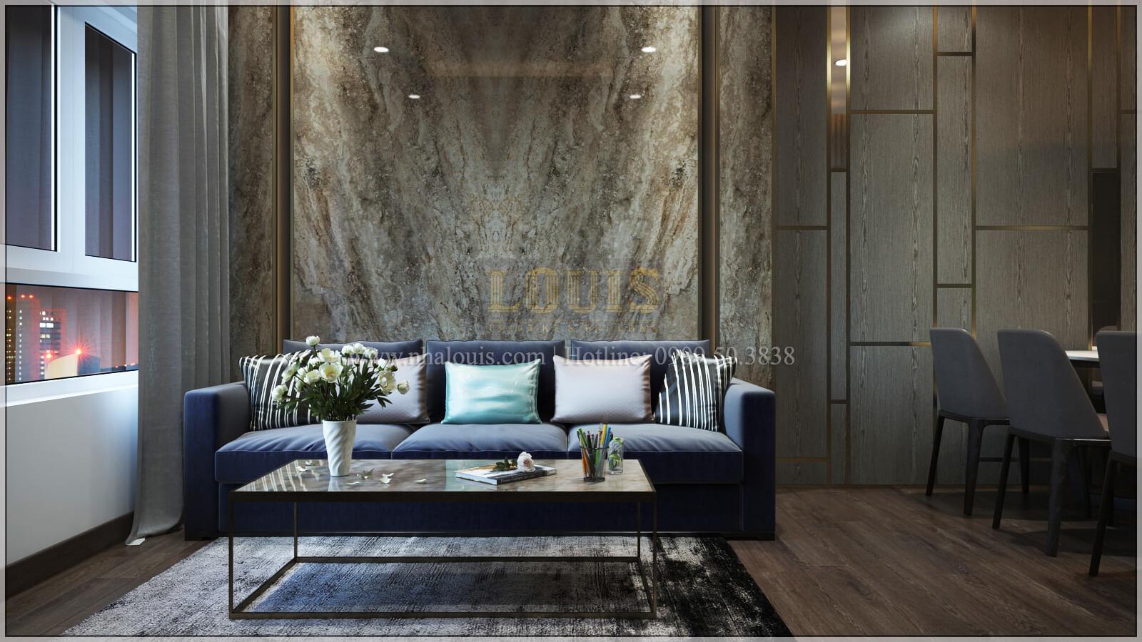 Phòng khách thiết kế căn hộ the park residence với nội thất sang trọng tại quận 7