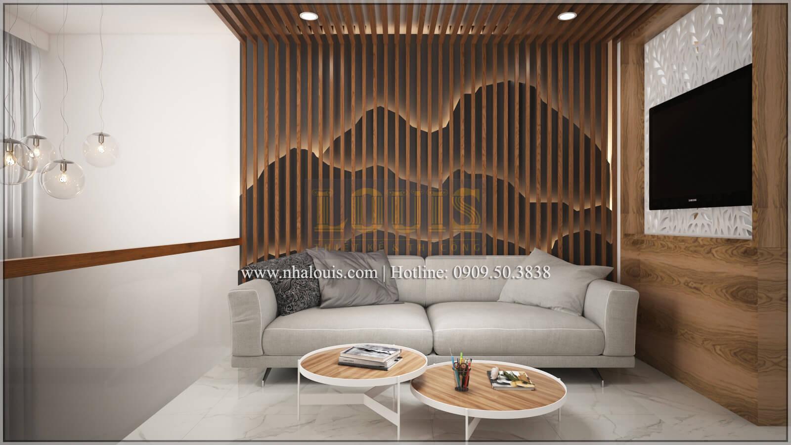 Phòng khách Thiết kế nhà ống 4 tầng đầy đủ công năng hiện đại tại quận 3
