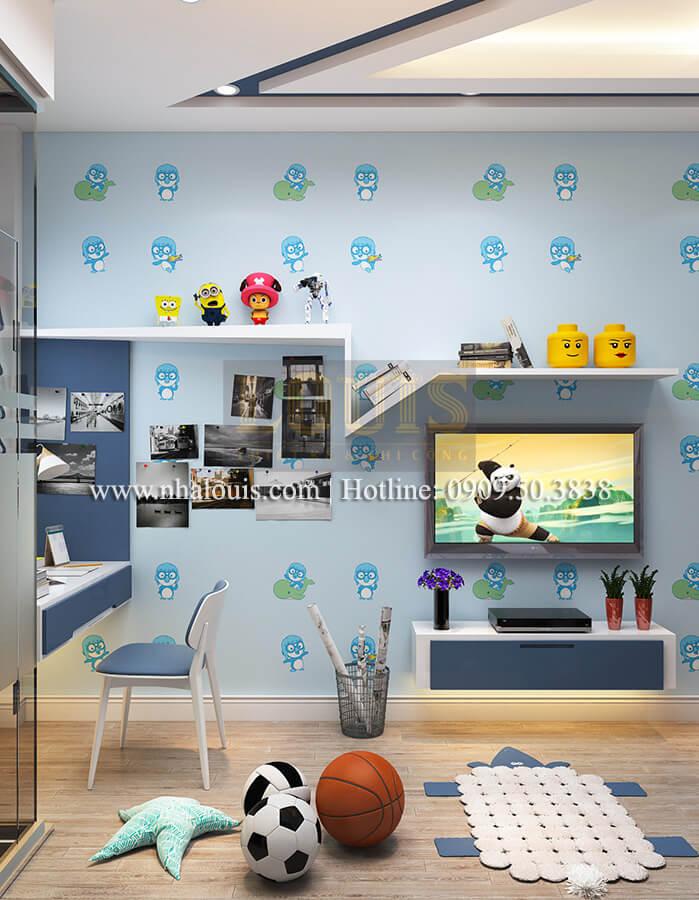 Phòng con trai Thiết kế nhà ống 4 tầng đầy đủ công năng hiện đại tại quận 3