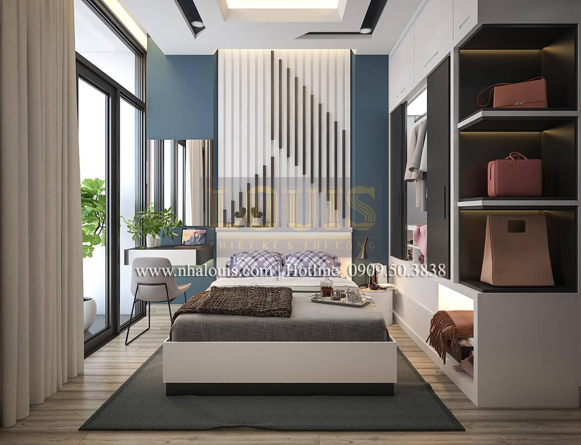 Phòng ngủ master Thiết kế nhà ống 4 tầng đầy đủ công năng hiện đại tại quận 3