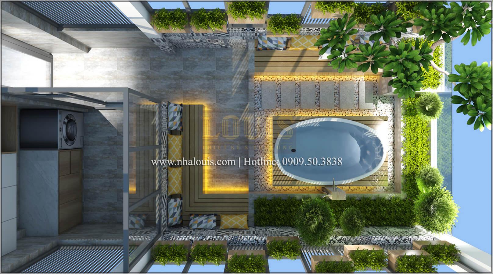 Sân thượng Thiết kế nhà ống 4 tầng đầy đủ công năng hiện đại tại quận 3