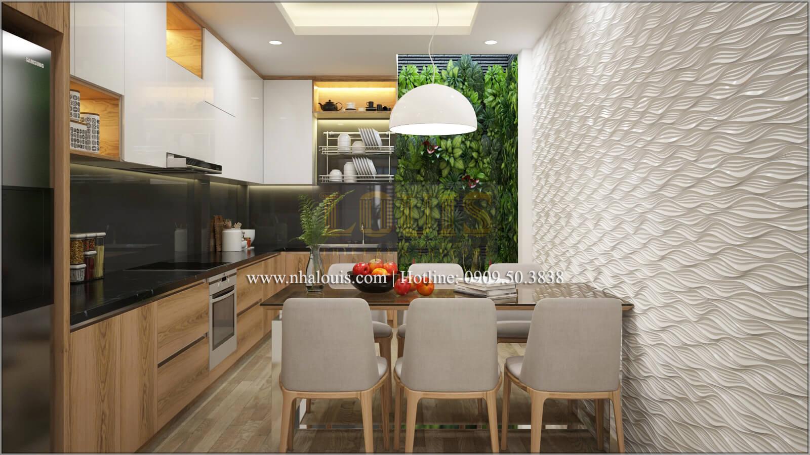 Bếp và phòng ăn Thiết kế nhà ống 4 tầng đầy đủ công năng hiện đại tại quận 3