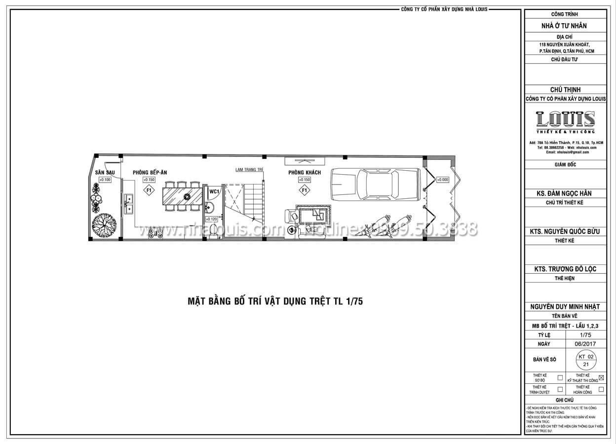 Mặt bằng tầng trệt Thiết kế mẫu nhà đẹp 4x17 hiện đại 5 tầng sang trọng tại quận Tân Phú - 07