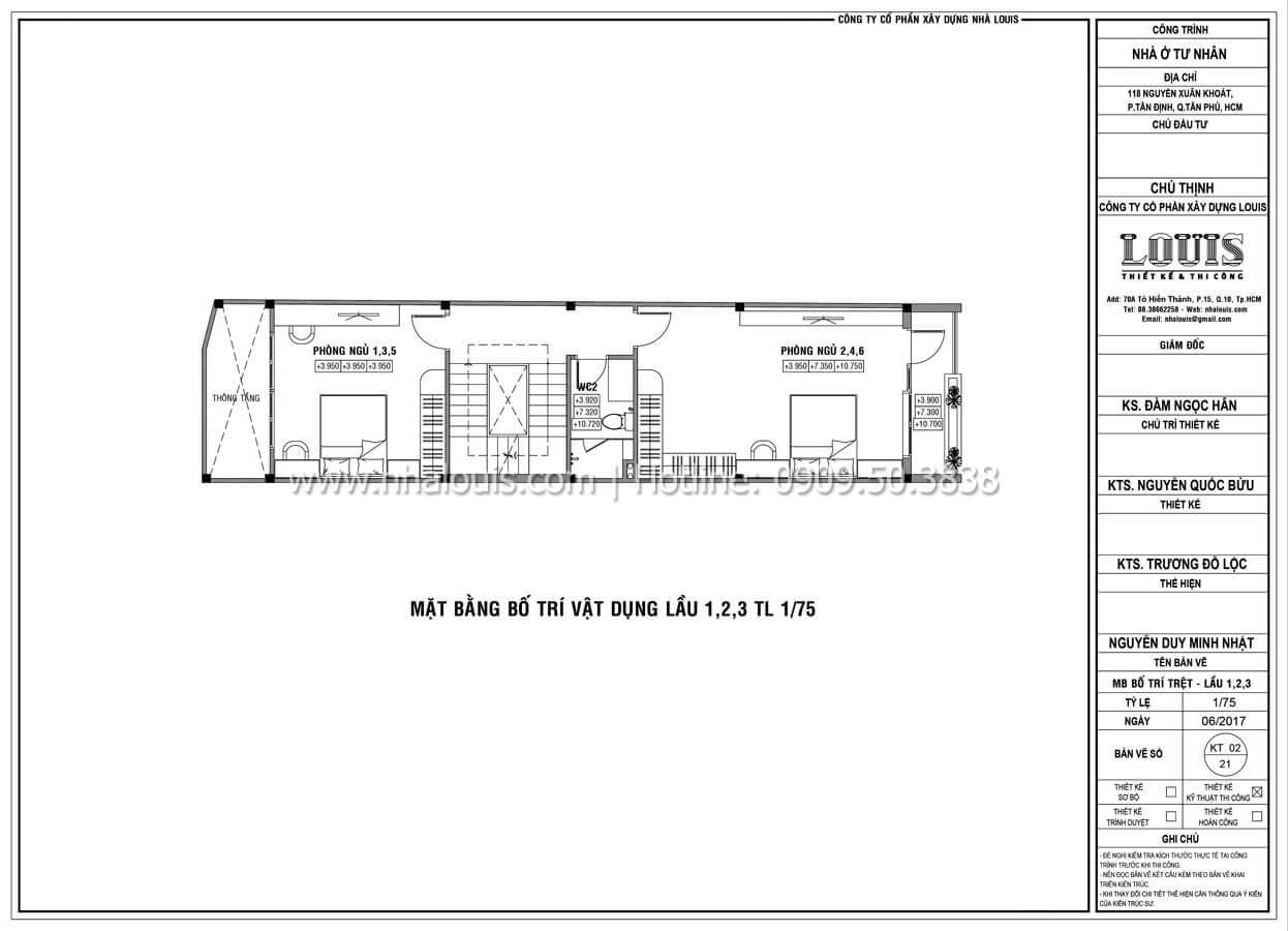 Mặt bằng tầng 1, 2, 3 Thiết kế mẫu nhà đẹp 4x17 hiện đại 5 tầng sang trọng tại quận Tân Phú - 08