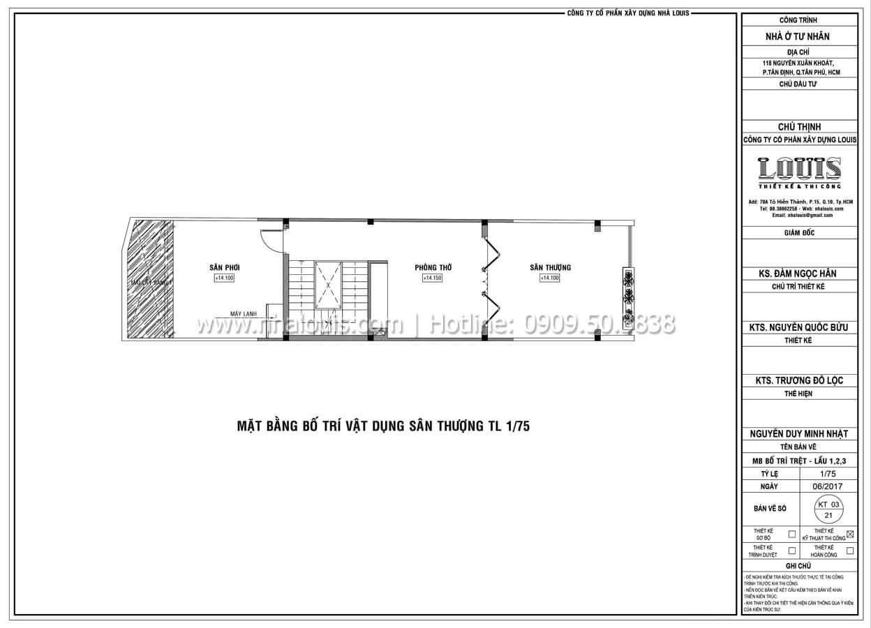 Mặt bằng tầng thượng Thiết kế mẫu nhà đẹp 4x17 hiện đại 5 tầng sang trọng tại quận Tân Phú - 09