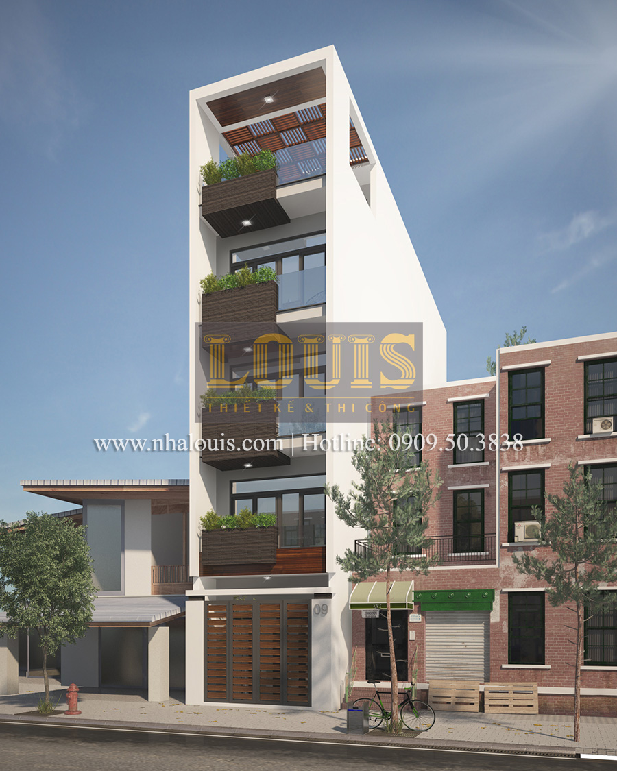 Thiết kế nhà phố hiện đại 5 tầng sang trọng tại quận Tân Phú