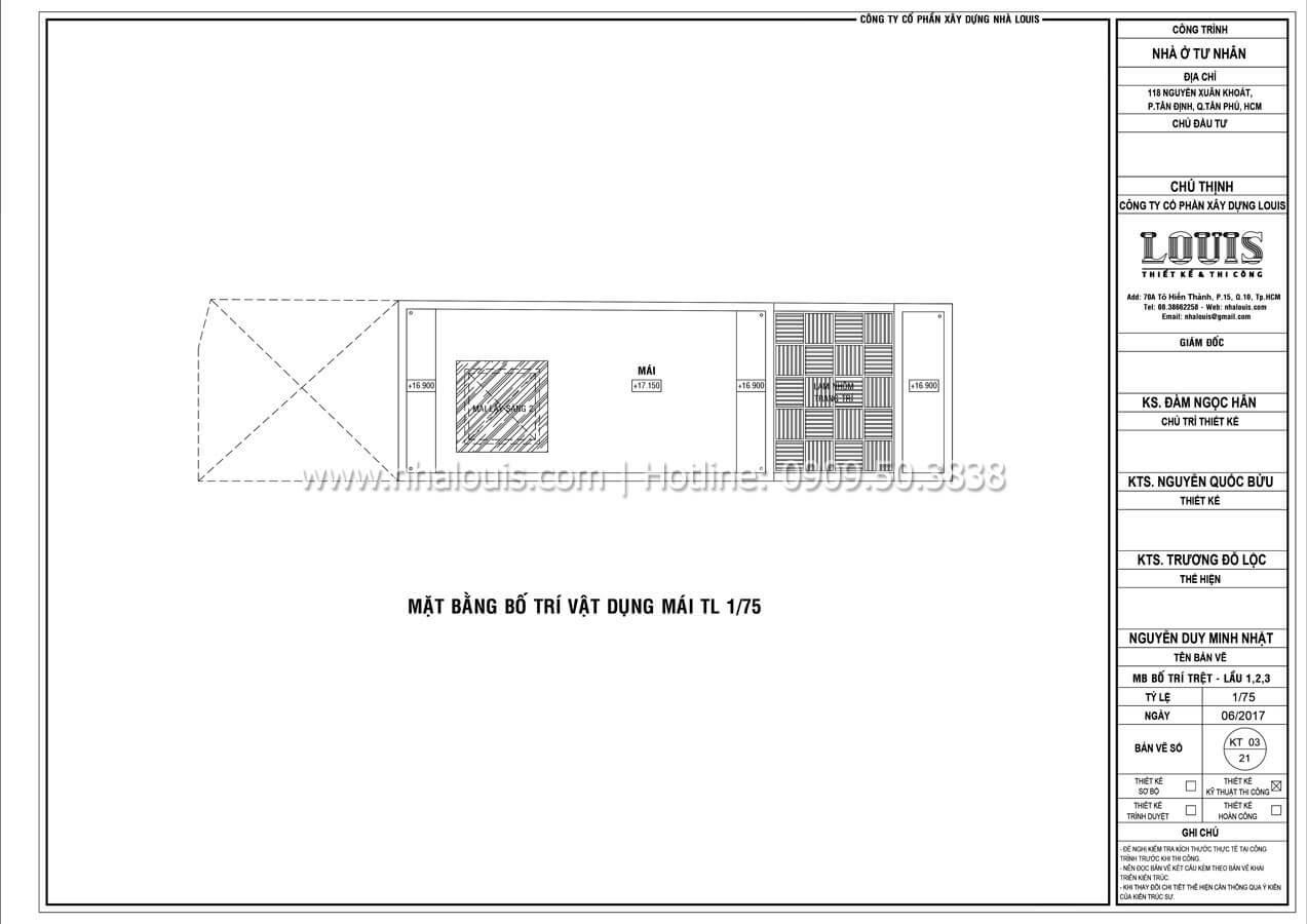 Mặt bằng tầng mái Thiết kế mẫu nhà đẹp 4x17 hiện đại 5 tầng sang trọng tại quận Tân Phú - 10