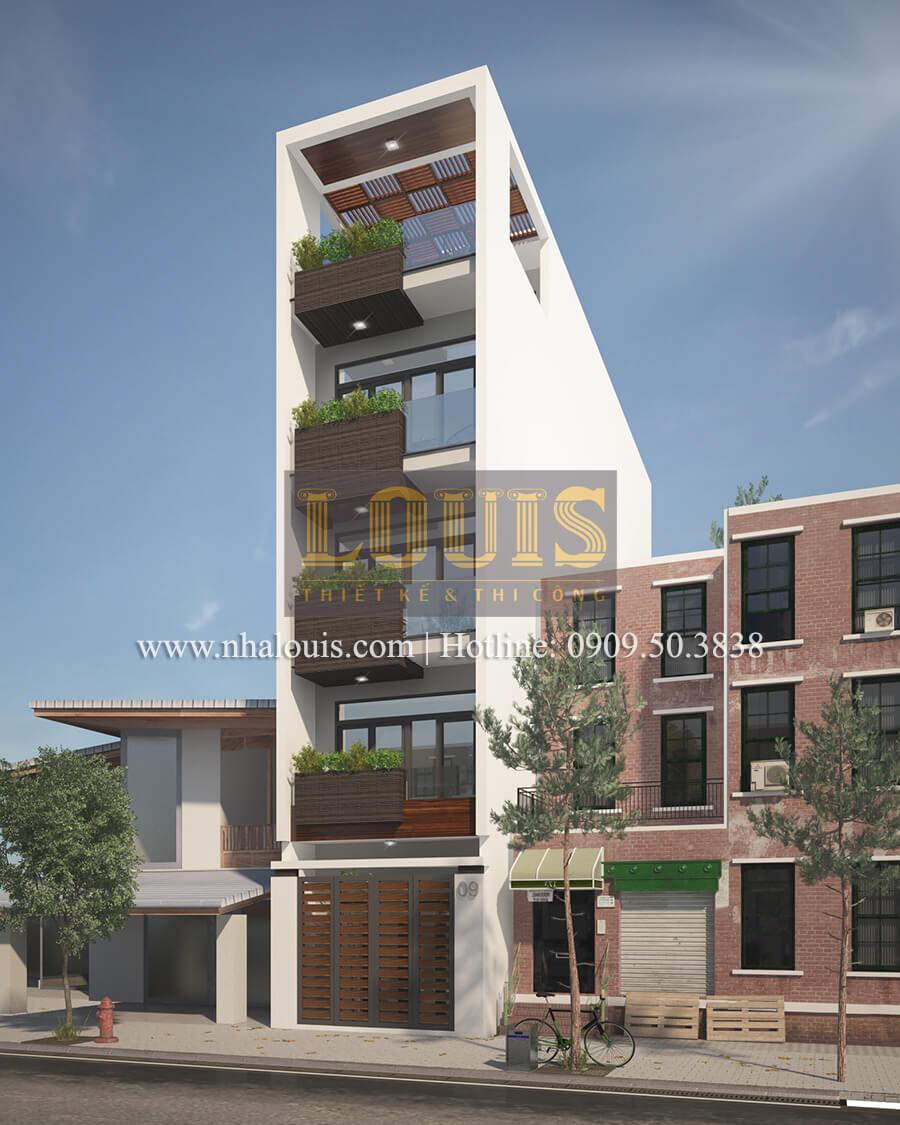 Mặt tiền mẫu nhà đẹp 4x17 5 tầng sang trọng tại quận Tân Phú