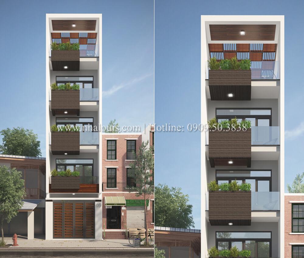 Thiết kế mẫu nhà đẹp 4x17 hiện đại 5 tầng sang trọng tại quận Tân Phú
