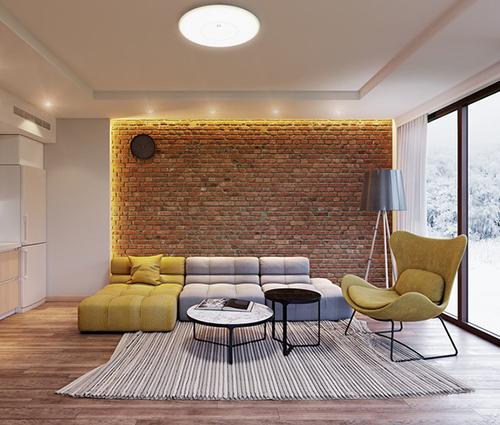 Tường gạch tô điểm ấn tượng cho phòng khách đẹp không ngờ