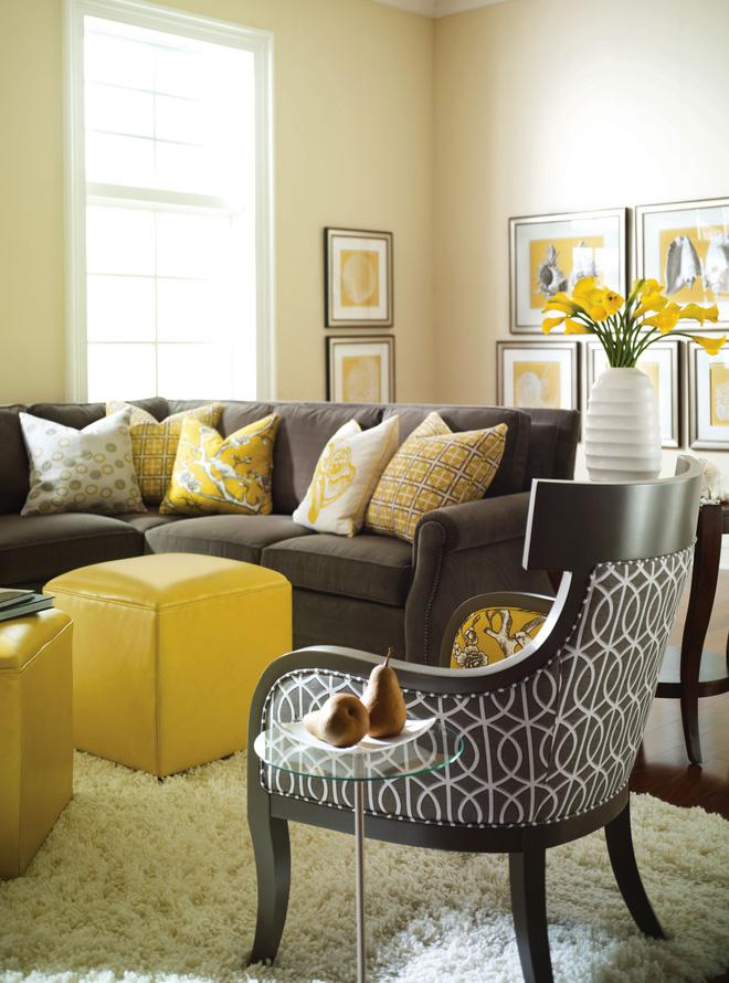 Những phòng khách sang trọng với cặp đôi vàng-xám
