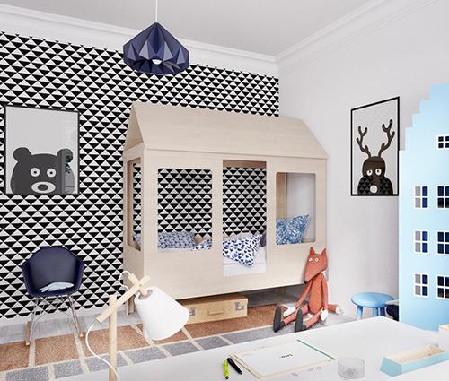 Phòng ngủ kết hợp không gian vui chơi tươi sắc cho trẻ