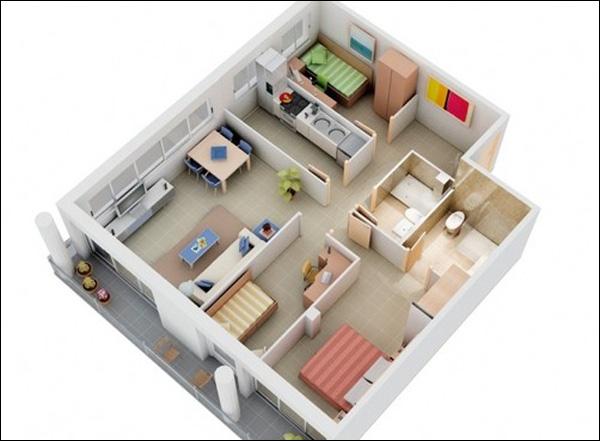 Top 5 thiết kế căn hộ chung cư 3 phòng ngủ được ưa chuộng nhất năm 2017