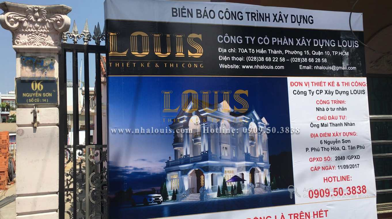 Khởi công biệt thự cổ điển 3 tầng đẹp tại Tân Phú