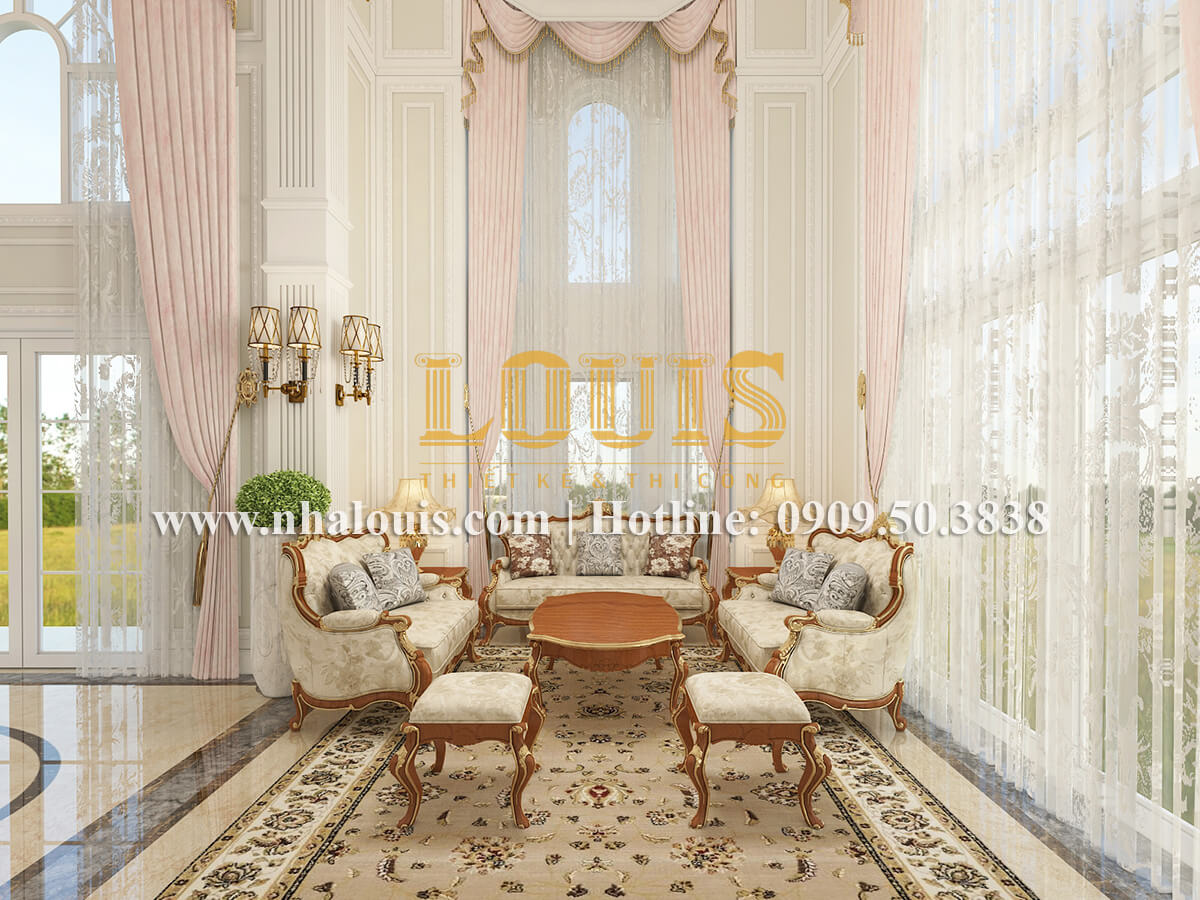 Phòng khách biệt thự cổ điển kiểu Pháp đẳng cấp tại Đồng Nai