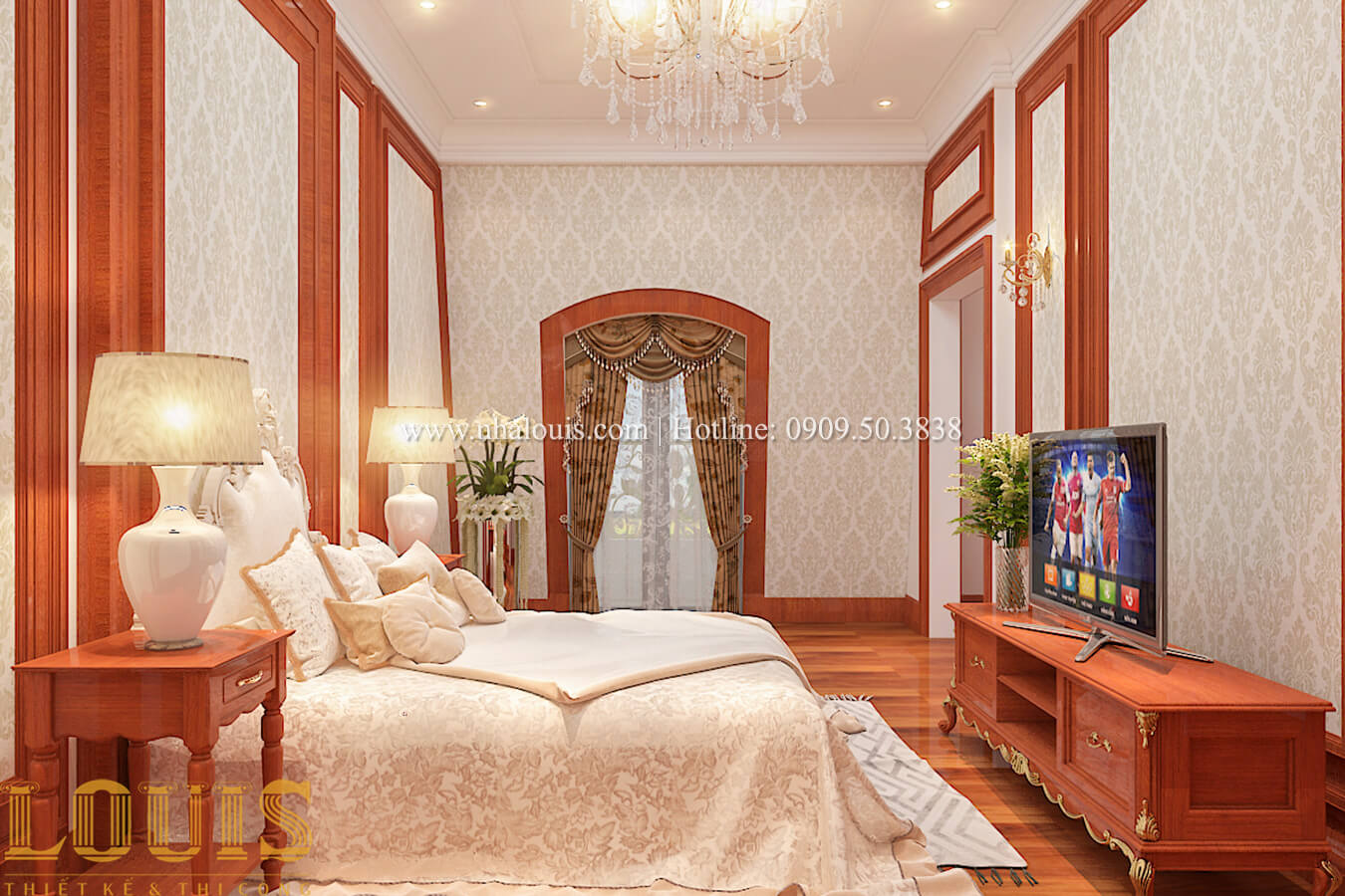 Phòng ngủ Thiết kế biệt thự kiến trúc Pháp phong cách 2018 đẳng cấp