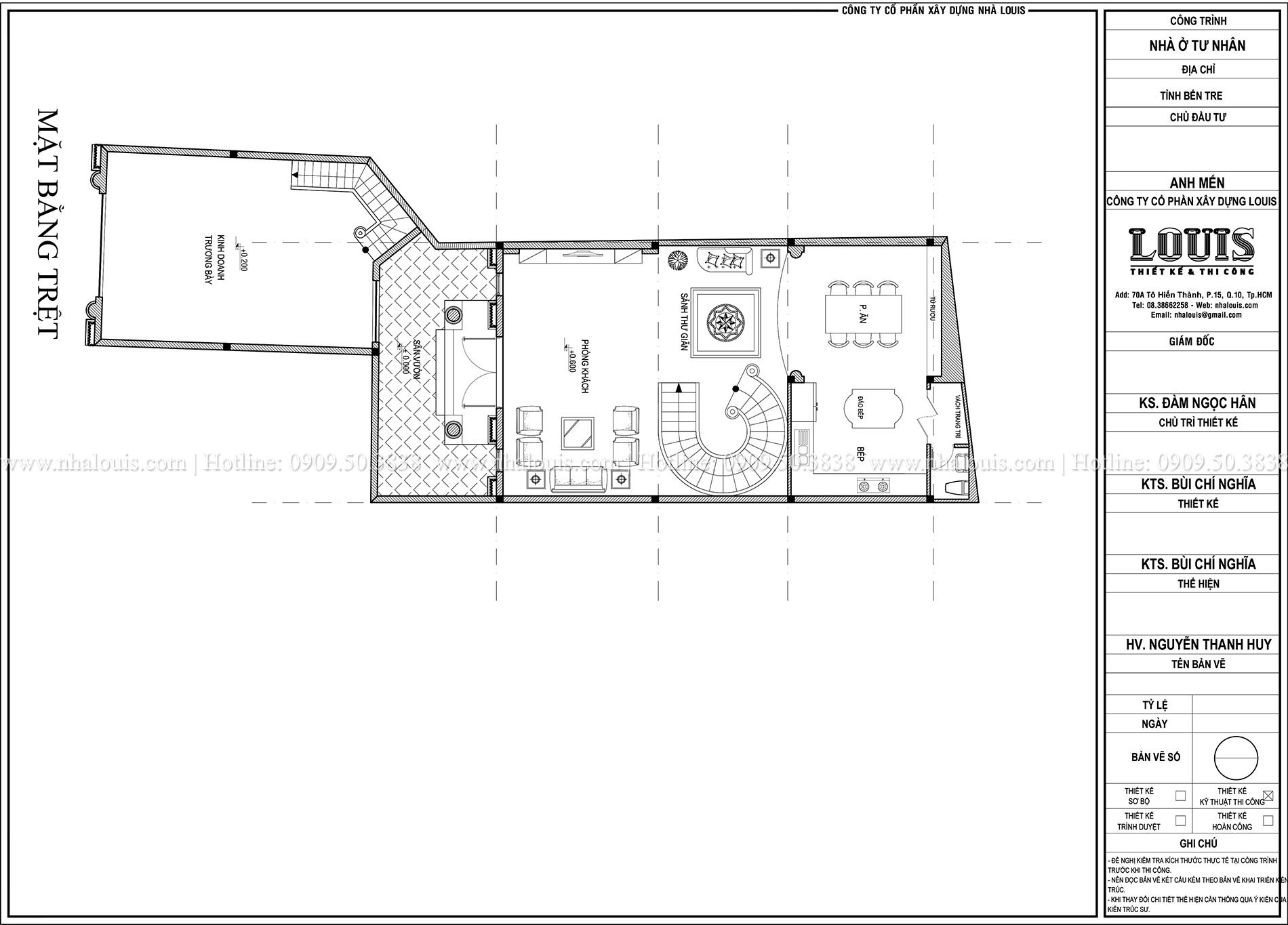 Mặt bằng tầng trệt biệt thự phong cách cổ điển châu Âu - 004 - 1
