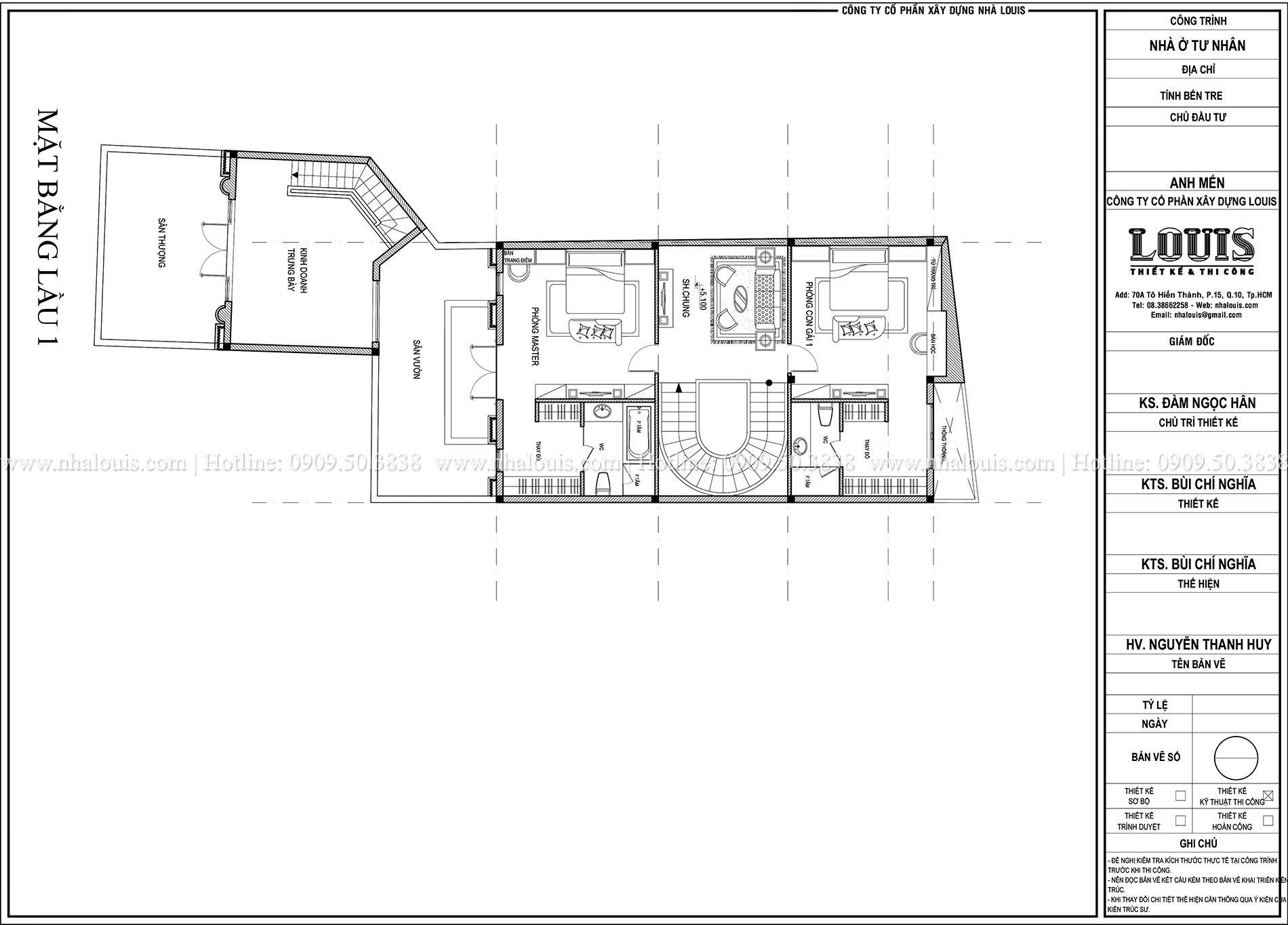 Mặt bằng lầu 1 biệt thự phong cách cổ điển châu Âu - 015 - 1