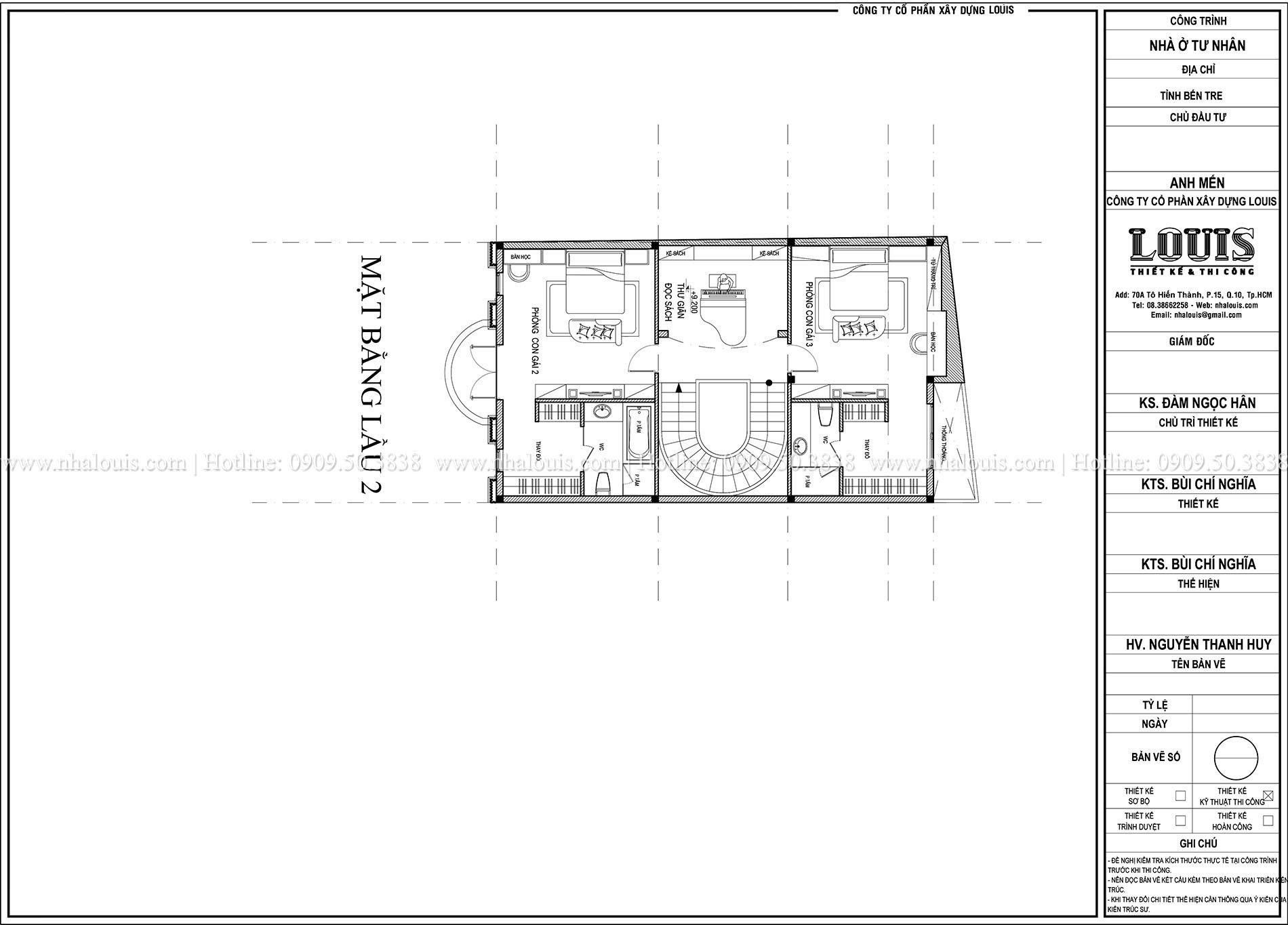 Mặt bằng lầu 2 biệt thự phong cách cổ điển châu Âu - 029 - 1