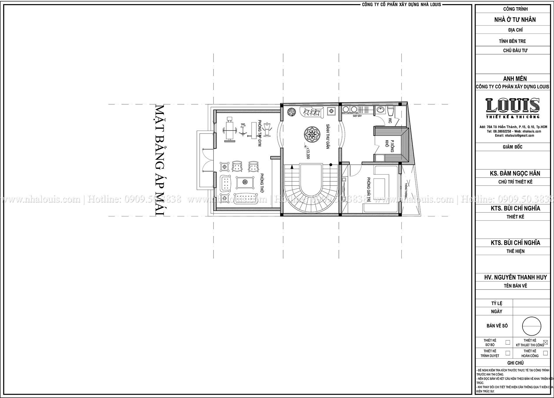 Mặt bằng áp mái biệt thự phong cách cổ điển châu Âu - 043 - 1