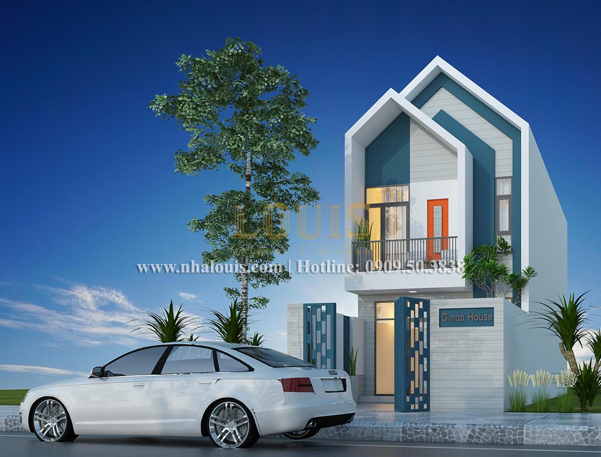 Mặt tiền mẫu nhà 2 tầng đơn giản đầy đủ tiện nghi tại bình dương