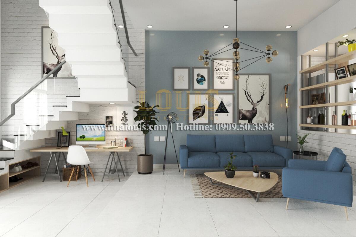Phòng khách mẫu nhà 2 tầng đơn giản đầy đủ tiện nghi tại bình dương