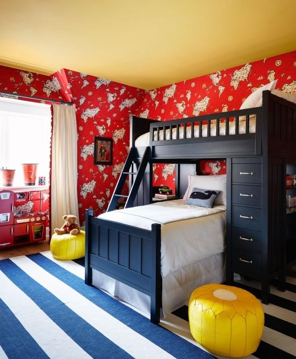 Trang trí phòng ngủ bé với họa tiết kẻ ngang cá tính và ấn tượng