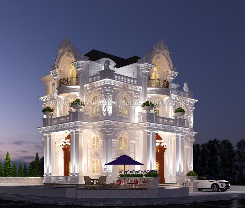 Thiết kế biệt thự kiểu Pháp 4 tầng tuyệt đẹp tại quận 9