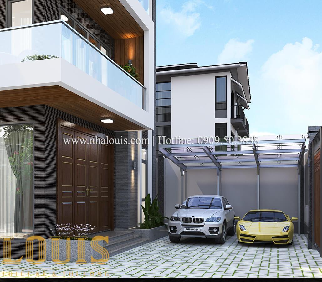 Gara Thiết kế biệt thự hiện đại 3 tầng có gara ô tô tại Bình Dương