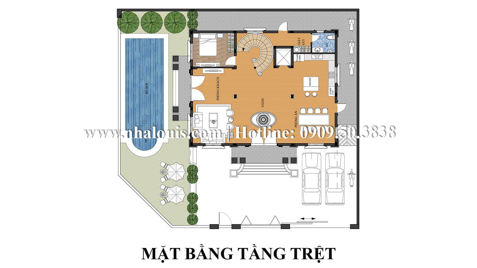 Mặt bằng tầng trệt thiết kế biệt thự kiểu pháp 4 tầng tuyệt đẹp tại quận 9