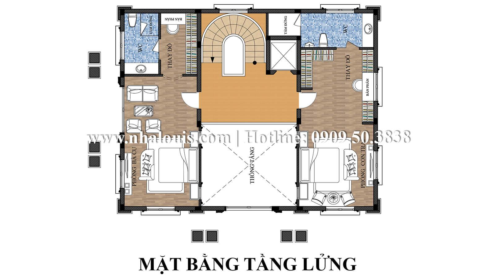 Mặt bằng tầng lửng thiết kế biệt thự kiểu pháp 4 tầng tuyệt đẹp tại quận 9