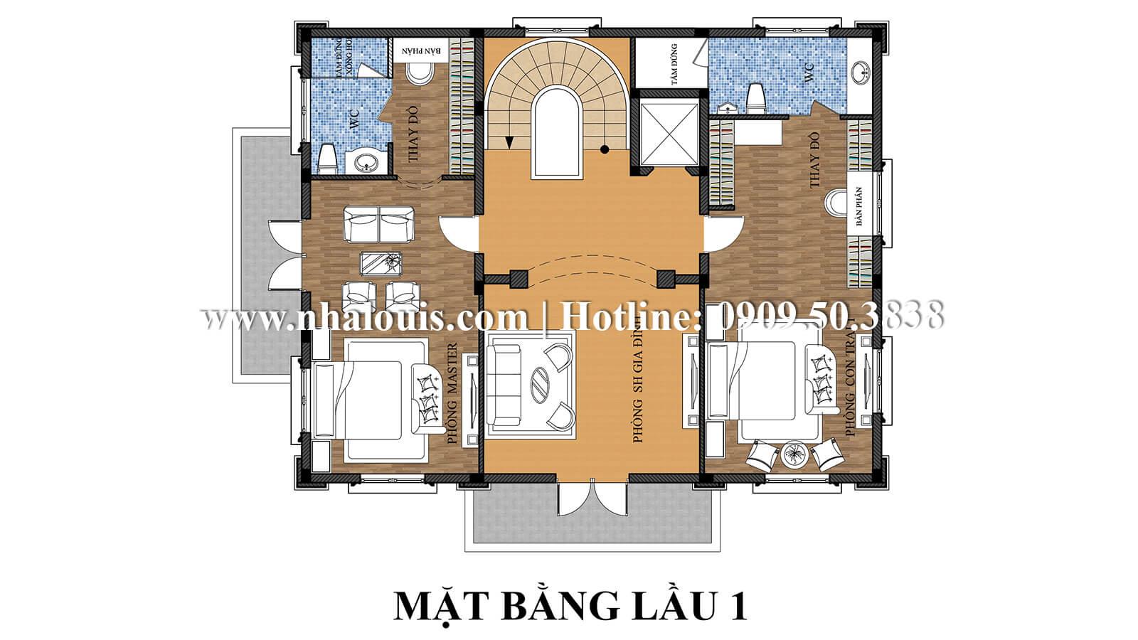 Mặt bằng lầu 1 thiết kế biệt thự kiểu pháp 4 tầng tuyệt đẹp tại quận 9
