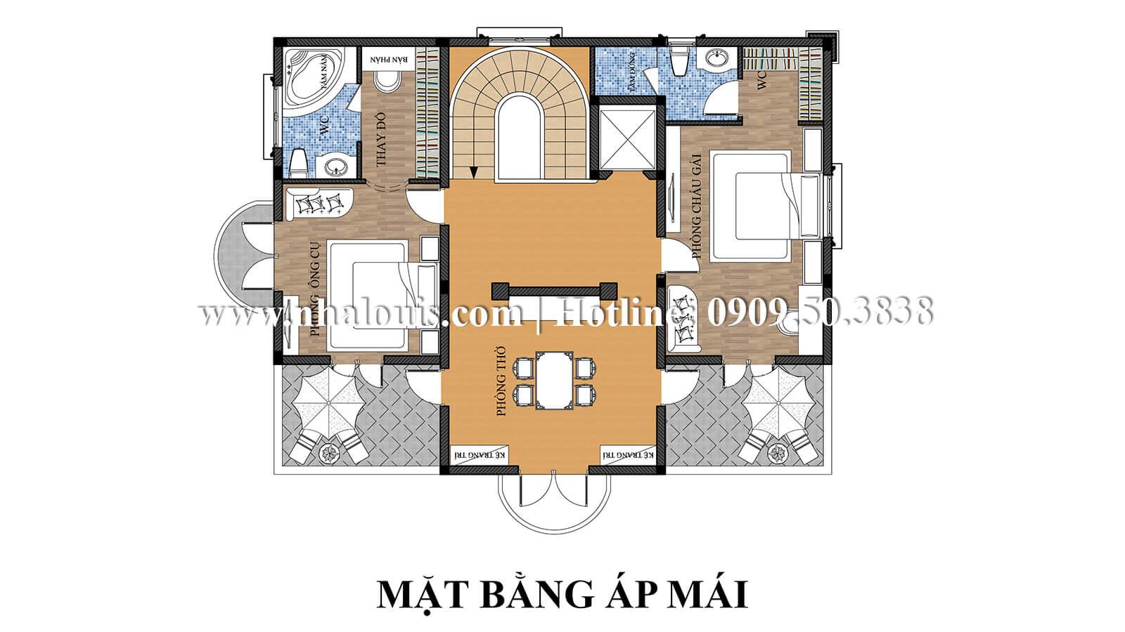 Mặt bằng áp mái thiết kế biệt thự kiểu pháp 4 tầng tuyệt đẹp tại quận 9