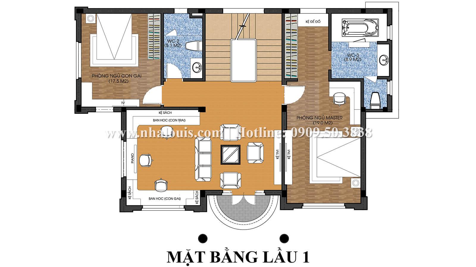 Mặt bằng lầu 1 Thiết kế nội thất biệt thự hiện đại đẹp 3 tầng tại Vũng Tàu